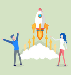 launching business startup people with rocket vector image