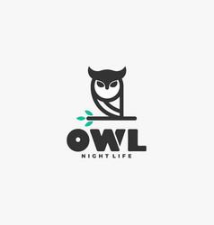 logo owl line art style vector image