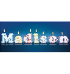 MADISON written with burning candles vector