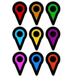 map marker map pin icons in more color vector image