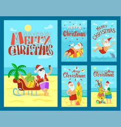 Merry christmas santa claus sleigh full fruits vector
