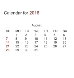 modern calendar for august 2016 vector image