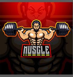 Muscle man esport mascot logo design vector