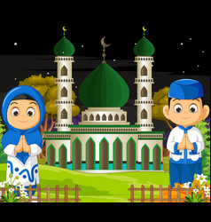 Muslim kids with mosque cartoon vector