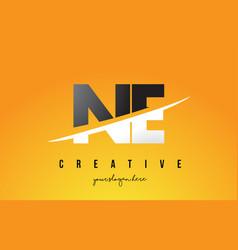 Ne n e letter modern logo design with yellow vector