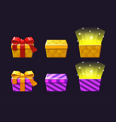 Open and close colored gift box orange and violet vector