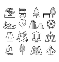 Park landscape and amusement line icons set vector