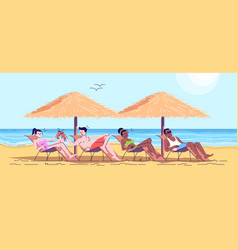 People on beach flat doodle friends on loungers vector