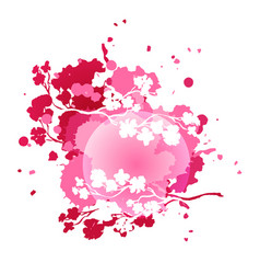 Pink colorful watercolor splash with cherry vector