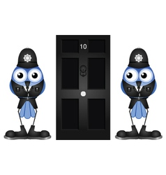 POLICE GUARDING DOOR vector image