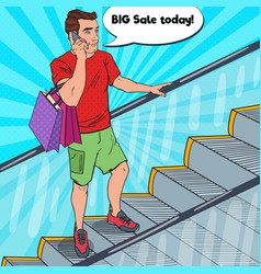 Pop art man with shopping bags talking on phone vector