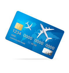 Realistic 3d detailed credit card with plane vector