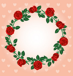 Round frame of red roses vector