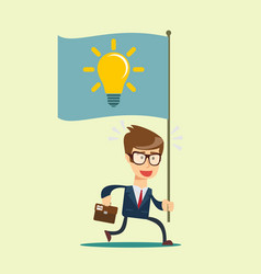 running businessmen bearing the idea vector image