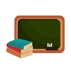 school chalkboard and books vector image