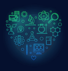 science heart colored outline vector image