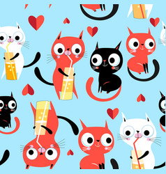 seamless bright funny pattern enamored kittens vector image