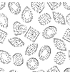 Seamless pattern with contour diamonds Blackand vector image