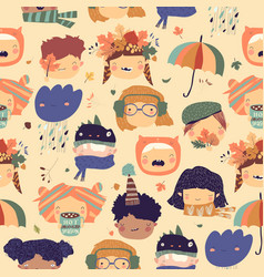 seamless pattern with cute kids faces with autumn vector image