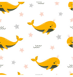 seamless pattern with cute whale isolated vector image