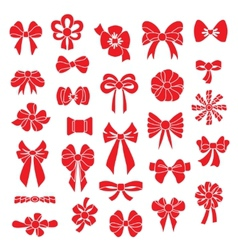 Set bows of different shapes red color vector image