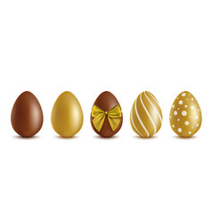 set chocolate eggs - golden and brown vector image