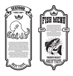 Set seafood flyers with octopus and fish vector