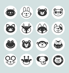 set solid animal circle icons vector image