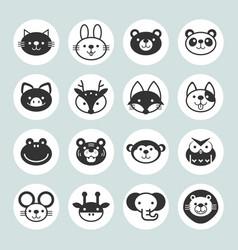 Set solid animal circle icons vector