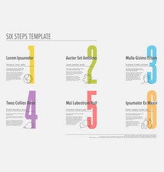 six steps progress template with nice typography vector image