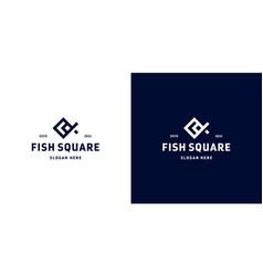 square fish logo design animals vector image