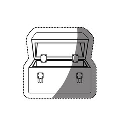 sticker monochrome contour with tool box vector image