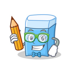 student with pencil eraser character mascot style vector image