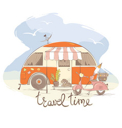 Summer travel in a house on wheels vector