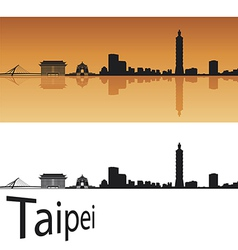 Taipei skyline in orange background vector