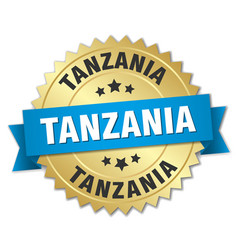 tanzania round golden badge with blue ribbon vector image