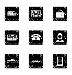 Taxi icons set grunge style vector