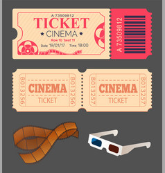 theatre and cinema ticket with 3d glasses stripe vector image
