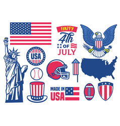 usa objects collection in set vector image