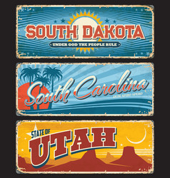 usa state south dakota carolina utah plate signs vector image