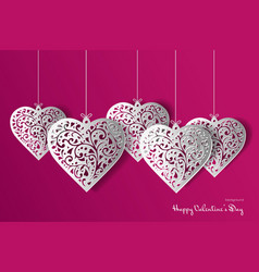Valentines day card with paper ornate heart vector