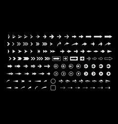 white arrows on black background icons set vector image