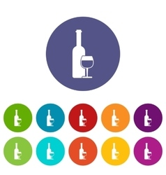 Wine bottle and glass set icons vector