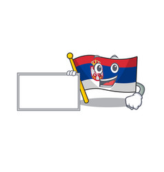 With board flag serbia isolated with character vector