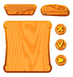 Wooden game assets vector