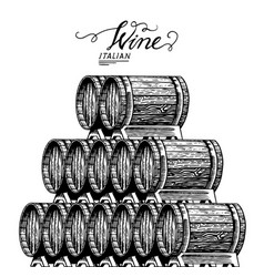 wooden oak barrels aged wine pyramidal pile of vector image