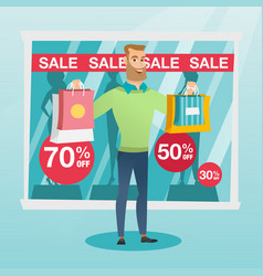 young caucasian man shopping on sale vector image