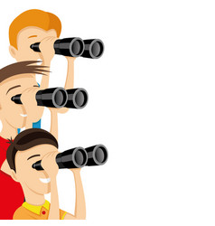 young people looking through binoculars vector image