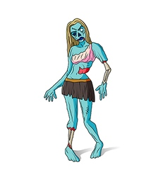 Zombie girl colorful vector