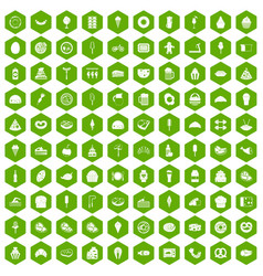 100 calories icons hexagon green vector